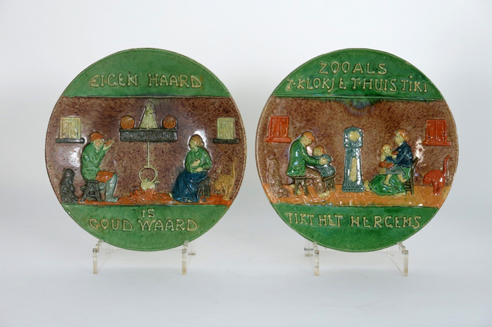 Pair of old dishes in Flemish earthenware-