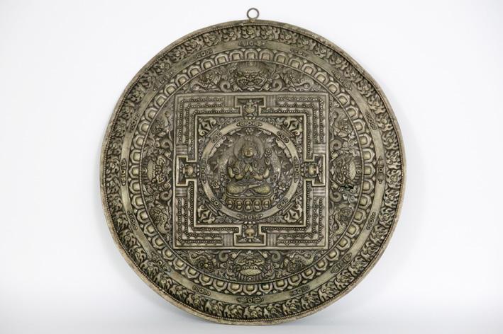 Tibeto-Nepalese mandala in silverplated metal-