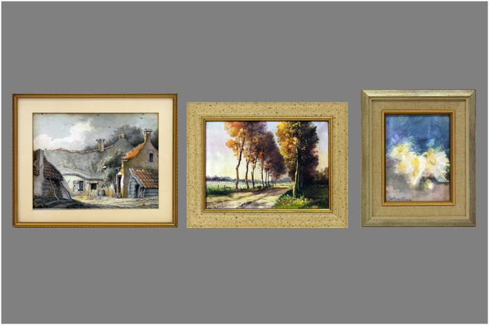 3 small oil paintings-