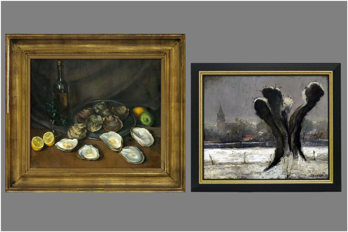 Bove - Winter landscape; Still life with oysters-