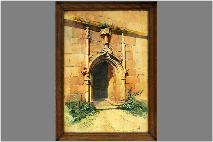 French School  - View of a gothic gate-