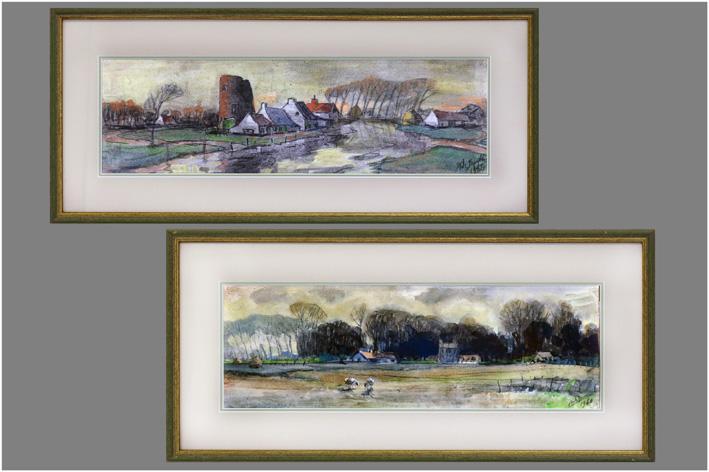 De Bondt Karel - Landscape with sheep; Landscape with hills-1960
