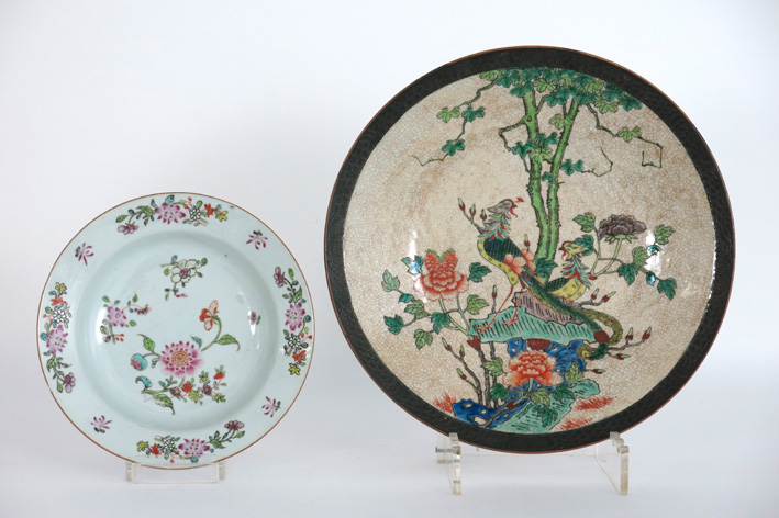 Antique Chinese 'Nankin' plate in porcelain & an 18th Cent; Chinese plate in porcelain-
