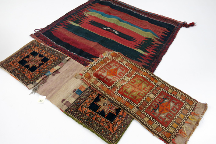 Antique Turkmen kilim and two Persian camel bags-