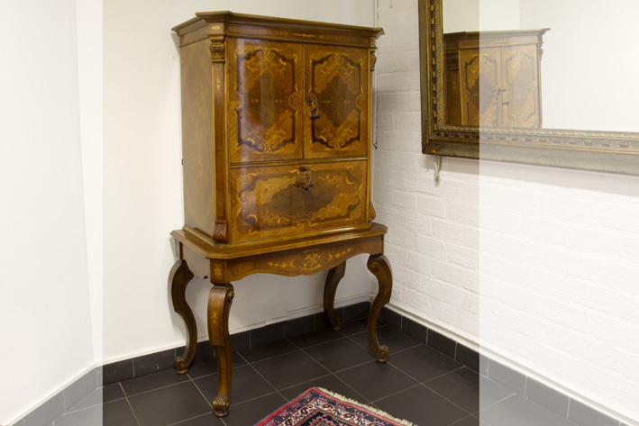 20th Cent. cabinet in marquetry with a bureau and a licquorcabinet-