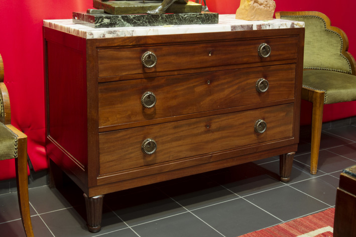 Art Deco-chest of drawers in mahogany with its marble top-1930