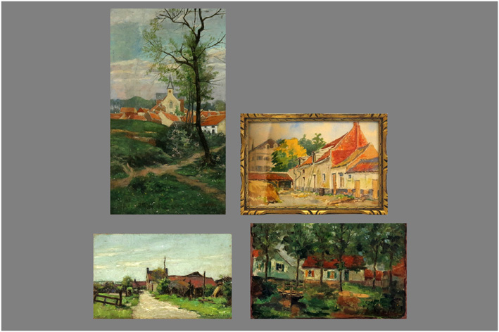 Small oil paintings and aquarelle from the Belgian Scool-