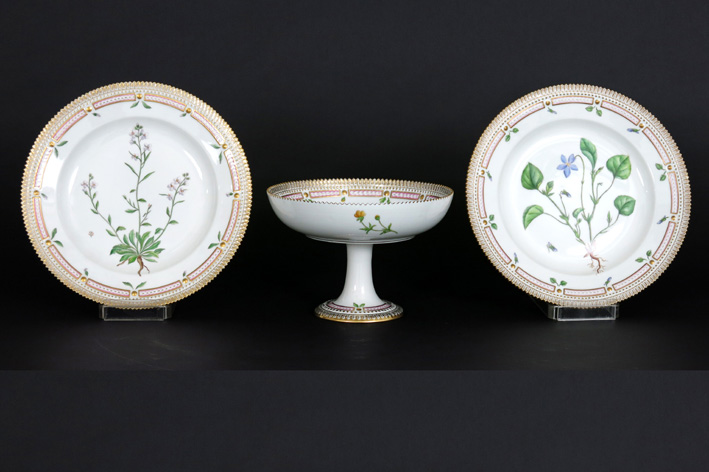 Set (3) of a pair of Flora Danica dishes and a tazza in marked 'Royal Kopenhagen' porcelain-