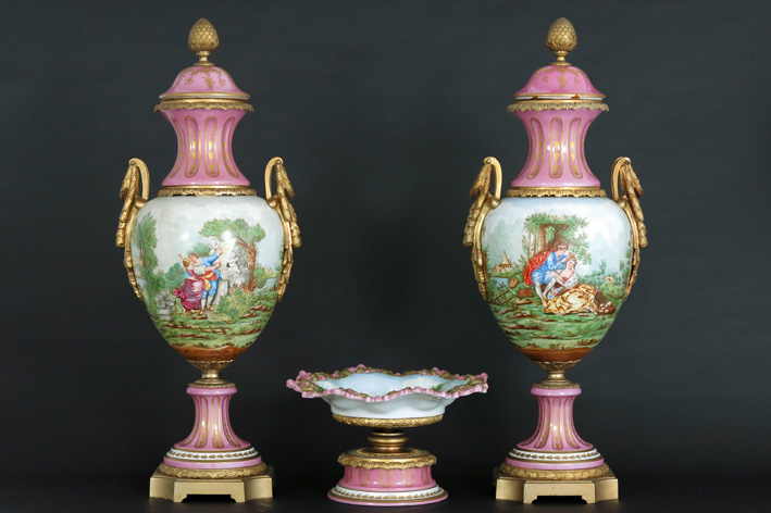3pc garniture in marked 'Sevres' porcelain and bronze a bowl and a pair of lidded vases-