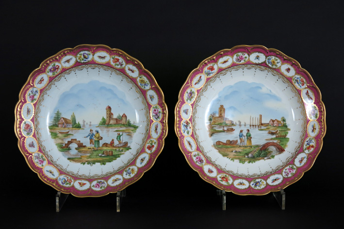 Antique pair of quite big round dishes in marked ' KPM 'porcelain-