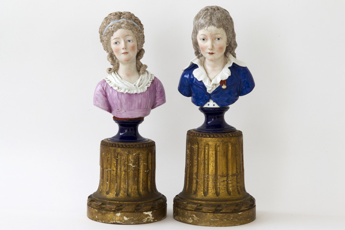 Pair of 19th Century French sculptures in Sèvres-porcelain, each on a guilded wood base-1785