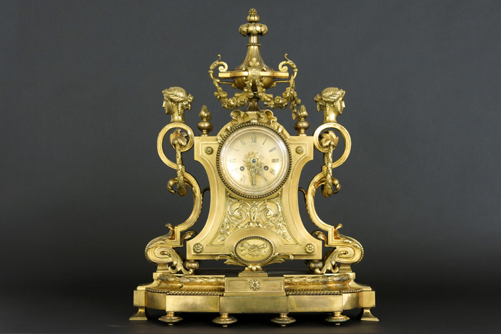 19th Cent. French clock in guilded bronze-