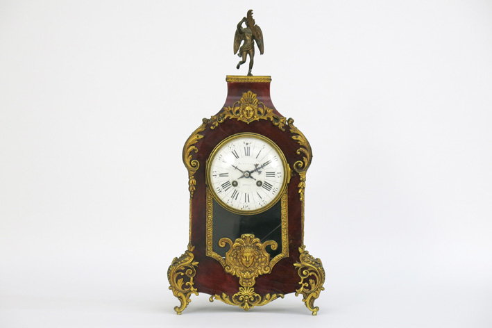 Antique French Louis XV style clock with case in tortoiseshell and guilded bronze-1900