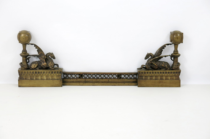 Antique open fire-set with a pair of chenets with a winged horse-