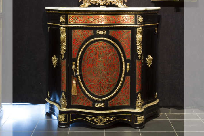 19th Cent. French cabinet in 'Boulle' with nice mountings in guilded bronze and with its marble top-1870