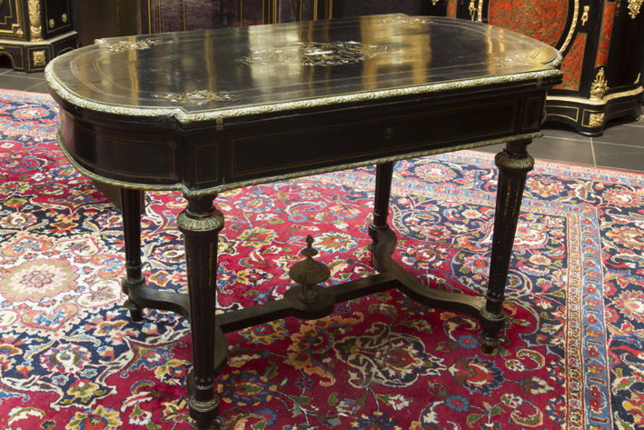 Quite rare 19th Cent. French Napoleon III-table (a combination of a games-, work- and toilet table) in 'Boulle' with ebony and inlay in brass, mother of pearl and ivory-1870