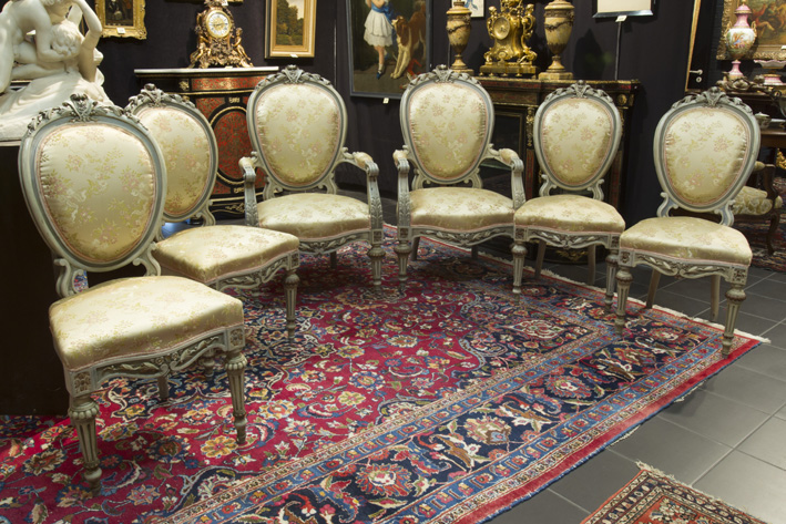19th Cent. Napoleon III-set of 4 chairs and a pair of armchairs in polychromed wood-1870