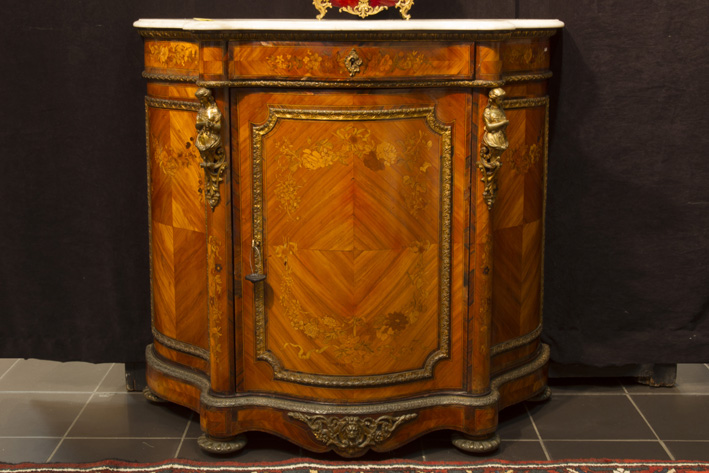 19th Cent. French Louis XV style Napoleon III-cabinet in marquetry with nice mountings in guilded bronze and with its marble top-1870