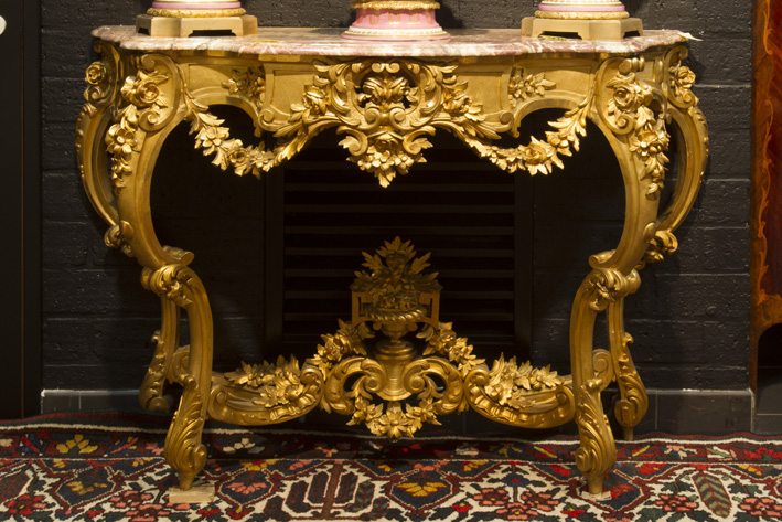 19th Cent. French Louis XV-style Napoleon III console in finely and richly carved wood with well preserved guilding-1880
