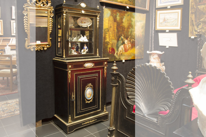 Quite special 19th Cent. French neoclassical Napoleon III cabinet in 'Boulle' with ebony, nice mountings in guilded bronze and Sèvres-porcelain-1870