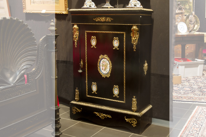 19th Cent. French Napoleon III cabinet in 'Boulle' with ebony, fine mountings in guilded bronze and Sevres-porcelain-1870