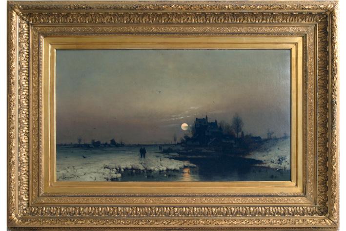 Lanckow Ludwig - Snowy landscape at sunset-1896