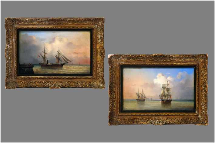 Navy with sailing ship; Navy with sailboats-
