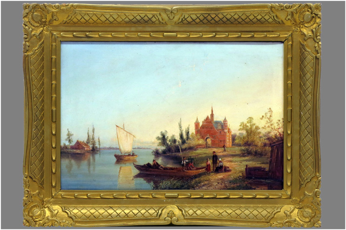 Dommersen William Raymond - Animated landscape with castle by river-