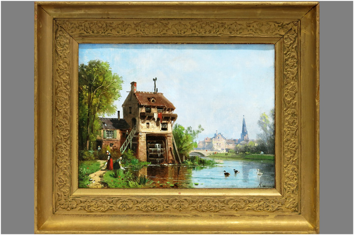 Kuwasseg Charles Euphrasie - View of a house on a canal-