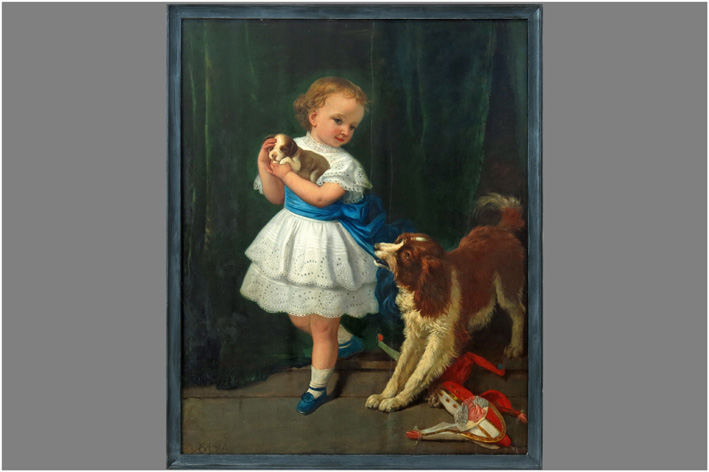 Verlat Charles - Girl with a dog x a puppy in the hands-1867