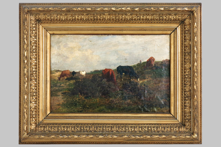 Robbe Louis Francois Dominique - Landscape with cows and a shepherd's mind-