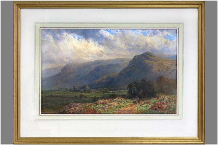 Baker Samuel Henry - Mountain landscape with boerinnetje op kar-