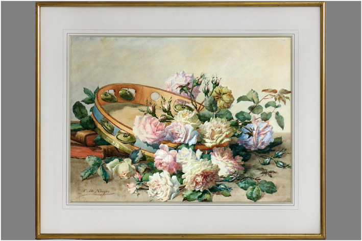 De Naeyer Charles - Still life with roses and a tambourine-