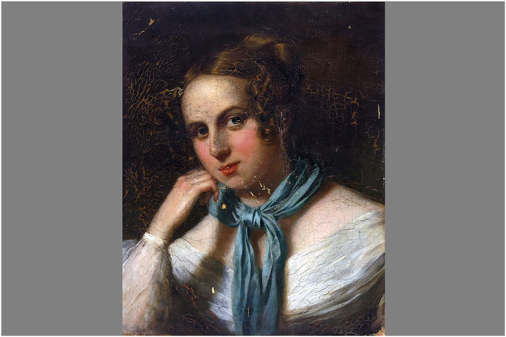Venetsianov Alexei Gavrilovich - Portrait of a young girl-