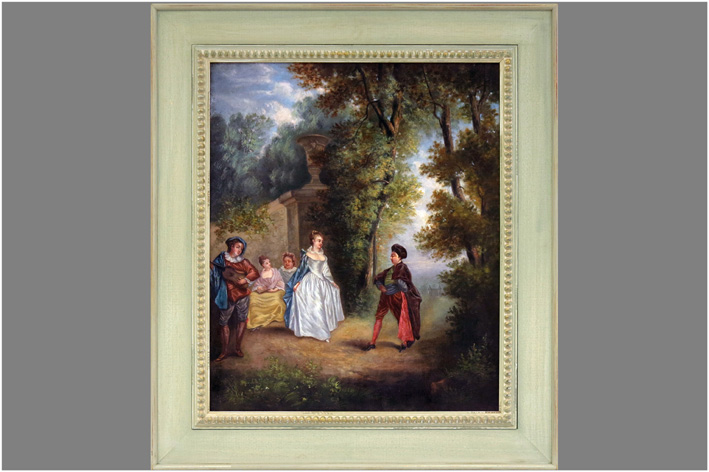 French School - Galante scene in a park-