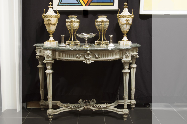 Antique neoclassical console in painted wood with its marble top-