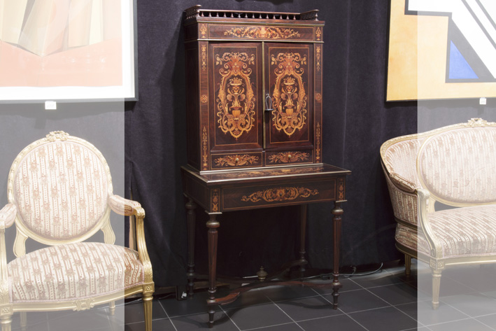 19th Cent. French neoclassical Napoleon III ladies' writing cabinet in marquetry-1870