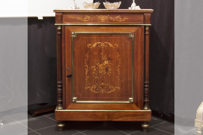 19th Cent. French neoclassical cabinet in marquetry with mountings in brass and bronze and its original marble top-