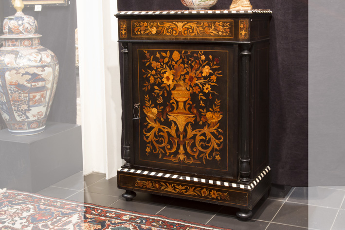 Completely original 19th Cent. French Napoleon III cabinet in ebony, marquetry and ivory-1870