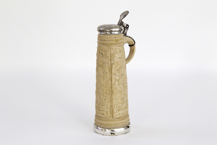 Late 16th Cent. Siegburg Schnelle, a pitcher in white grès earthenware with a probably 19th Cent. silver mounting-1880