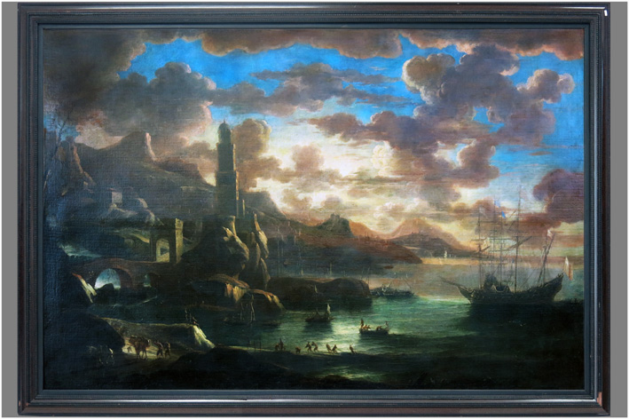 Originalized landscape with docked boats-