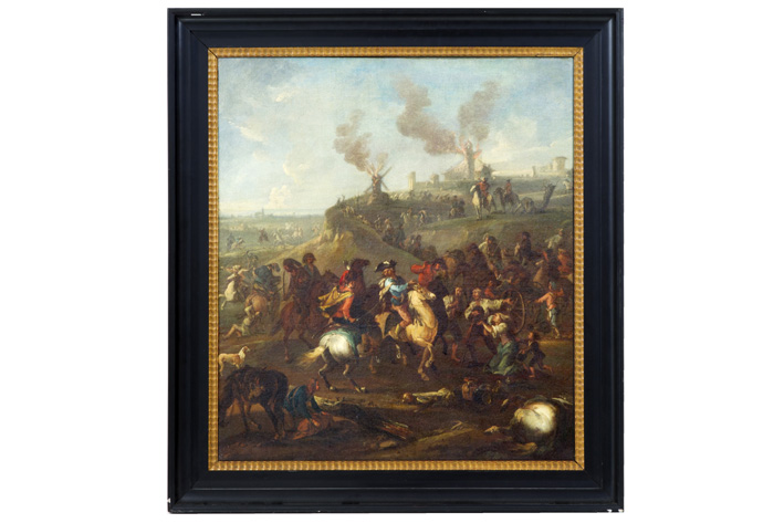 18th Cent. oil on canvas with J.B. monogram and with a representation of a battle with Europeans and Arabs-