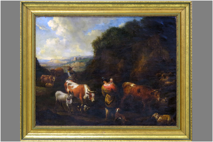Landscape with a family with all kinds of animals-