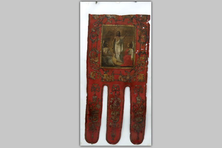 18th Cent. Russian procession banner in velvet with in between galloons on each side a painting, representing St Nicolas and the Ascension-