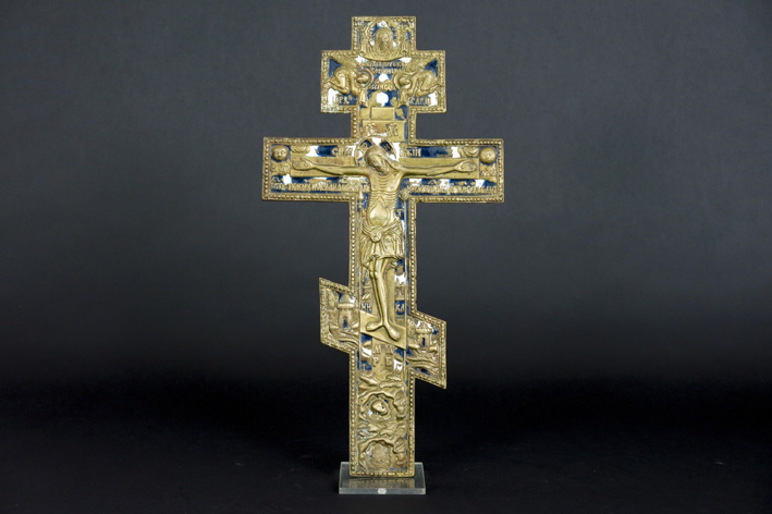 Antique Russian crucifixes in brass with enamel-