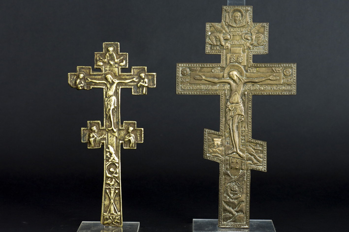 2 Russian crucifixes in brass-