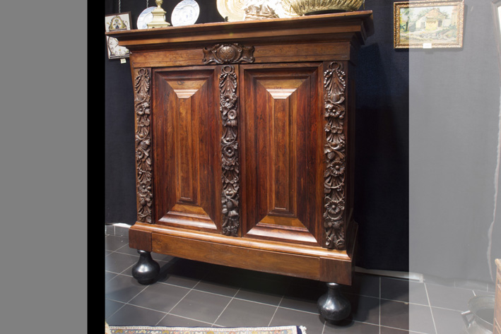 17th/18th Cent. baroque armoire with quite a rare small model in burr and rose wood and walnut-