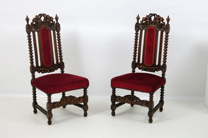 Pair of 19th Cent. chairs in walnut-