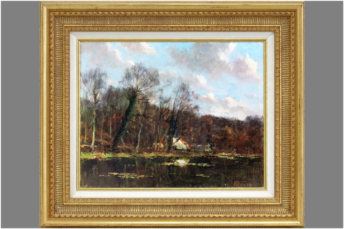 De Groux Victor - Landscape with house on lake-