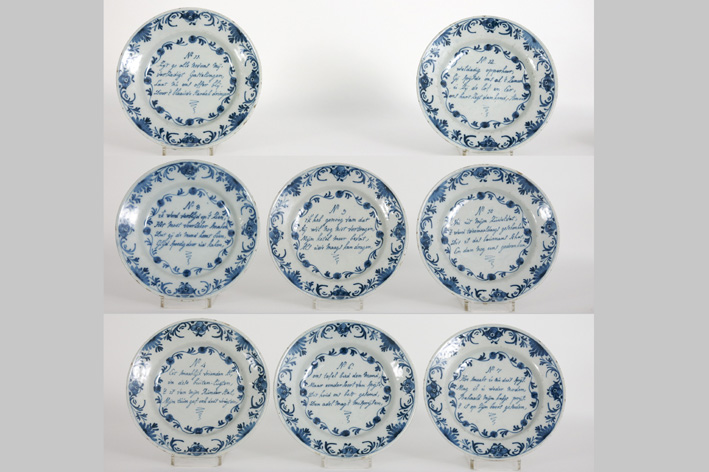 Set of eight 18th Cent. plates in earthenware from Delft-
